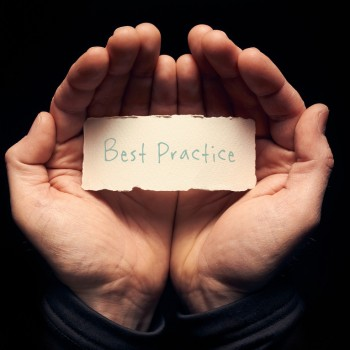 A man holding a torn piece of paper with a Best Practice Concept